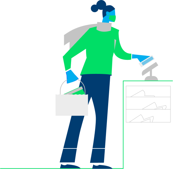 Illustration of woman making contactless payment