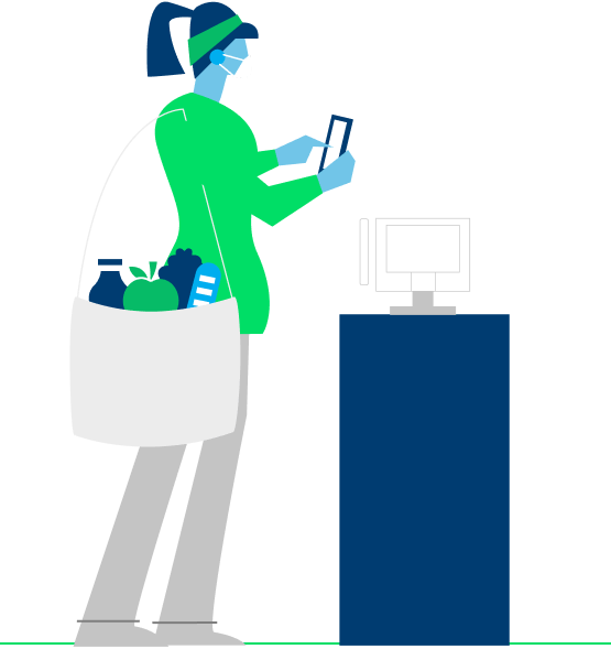 Illustration of woman at POS terminal