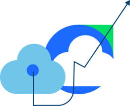 Illustration of cloud with arrows