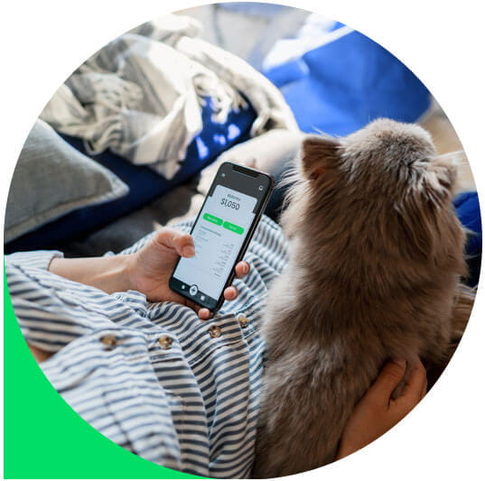 Image of person using their phone while holding a cat