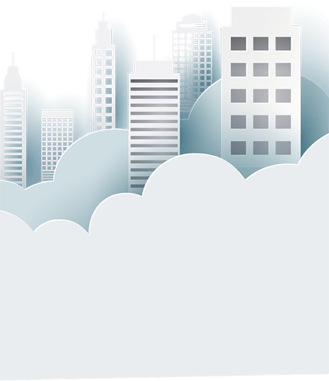 Illustration of city skyline in the clouds