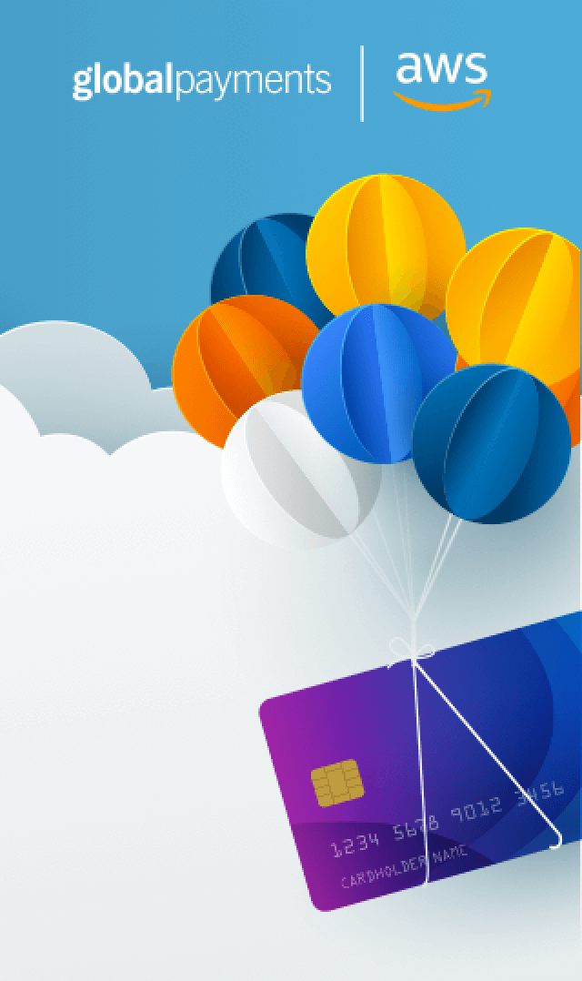Illustration of balloons tied to credit card floating in the clouds with Global Payments and AWS logos