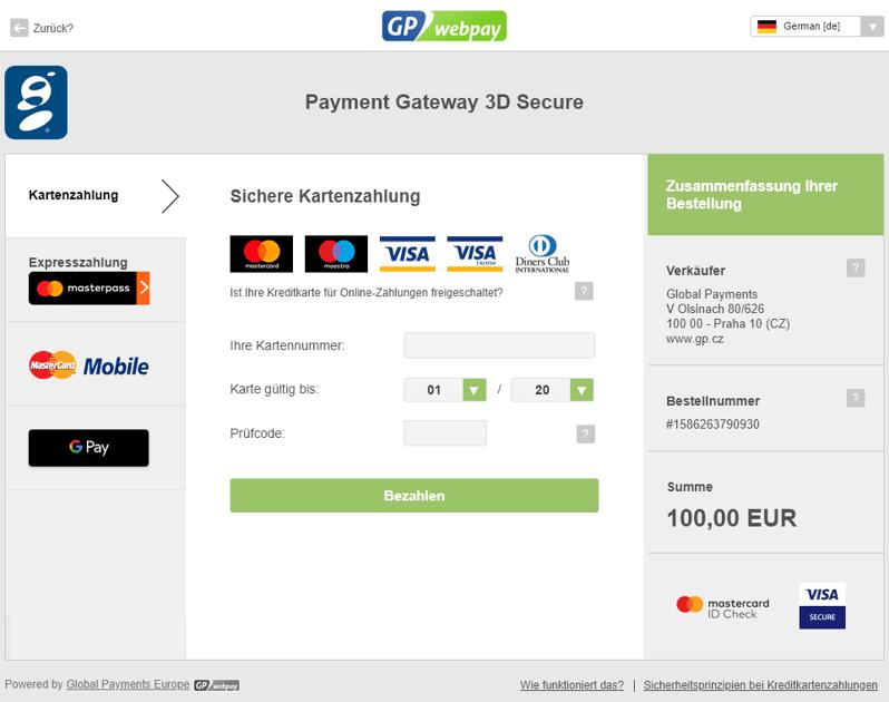 Základní funkce platební brány GP webpay