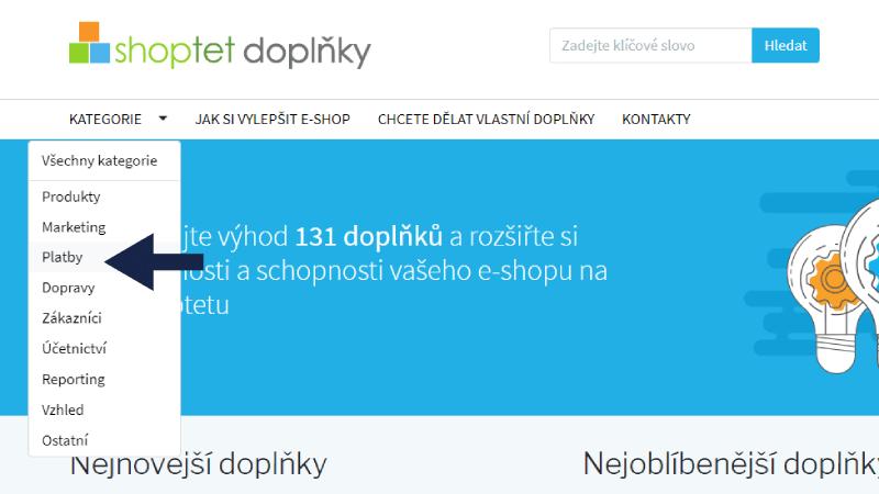 Platební brána - Shoptet doplněk web
