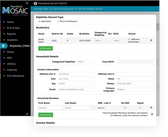 Cafeteria Management - Mosaic POS | Free & Reduced