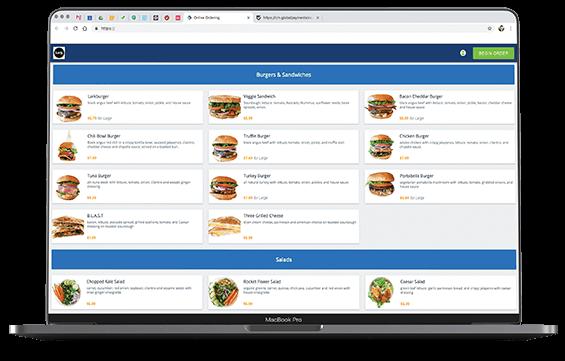Screenshot of Online Ordering app (desktop version)