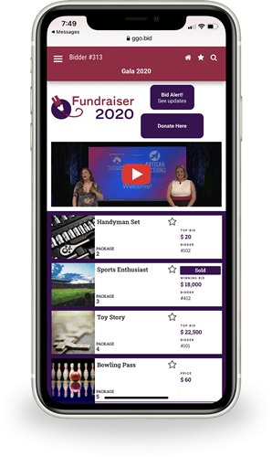 Event Package With Online Bidding and Live Streaming
