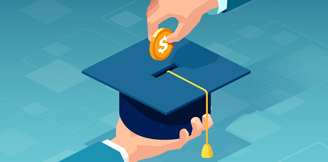 Graduation cap held by hand, while a second hand is poised to place a coin in the top of the hat like a piggy bank.