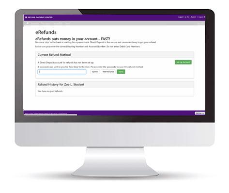 Bill+Payments eRefunds screen