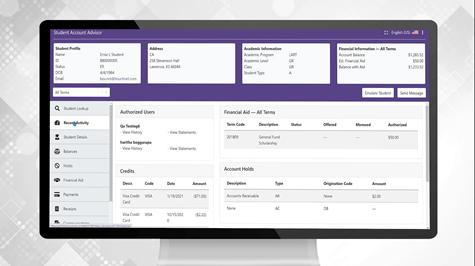 Student Account Advisor screen